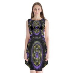 Fractal Sparkling Purple Abstract Sleeveless Chiffon Dress
