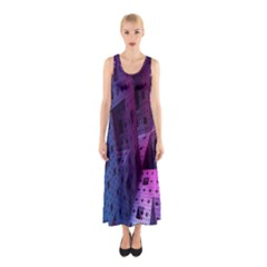 Fractals Geometry Graphic Sleeveless Maxi Dress