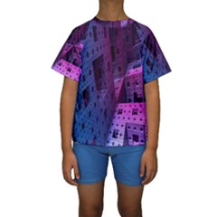 Fractals Geometry Graphic Kids  Short Sleeve Swimwear