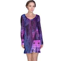 Fractals Geometry Graphic Long Sleeve Nightdress
