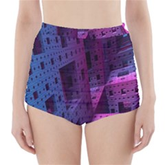 Fractals Geometry Graphic High Waisted Bikini Bottoms