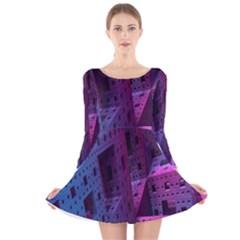 Fractals Geometry Graphic Long Sleeve Velvet Skater Dress