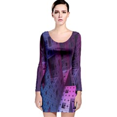 Fractals Geometry Graphic Long Sleeve Velvet Bodycon Dress