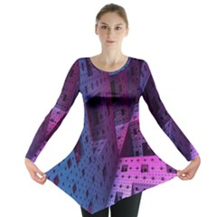 Fractals Geometry Graphic Long Sleeve Tunic