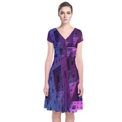 Fractals Geometry Graphic Short Sleeve Front Wrap Dress