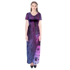Fractals Geometry Graphic Short Sleeve Maxi Dress