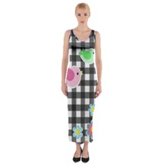 Cute spring pattern Fitted Maxi Dress