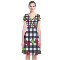 Cherries plaid pattern  Short Sleeve Front Wrap Dress