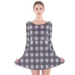Gray plaid pattern Long Sleeve Velvet Skater Dress