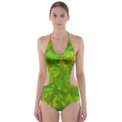 Green Autumn Cut Out One Piece Swimsuit