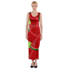 Watermelon slices Fitted Maxi Dress