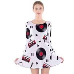 Music pattern Long Sleeve Velvet Skater Dress