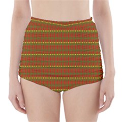Fugly Christmas Xmas Pattern High-Waisted Bikini Bottoms