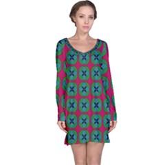 Geometric Patterns Long Sleeve Nightdress