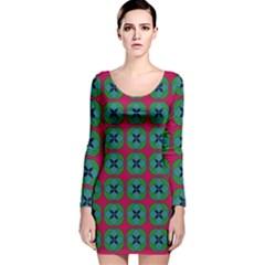 Geometric Patterns Long Sleeve Velvet Bodycon Dress