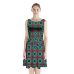 Geometric Patterns Sleeveless Chiffon Waist Tie Dress