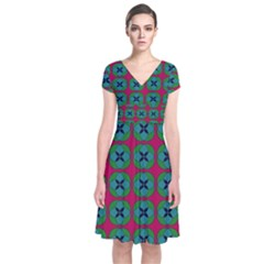 Geometric Patterns Short Sleeve Front Wrap Dress