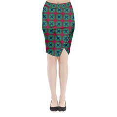 Geometric Patterns Midi Wrap Pencil Skirt