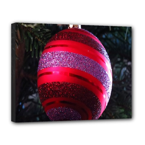 Glass Ball Decorated Beautiful Red Canvas 14  x 11