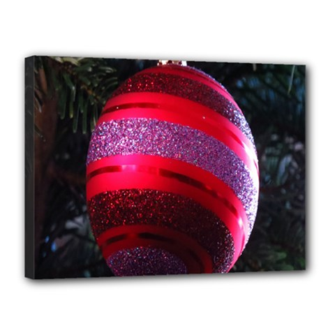 Glass Ball Decorated Beautiful Red Canvas 16  X 12