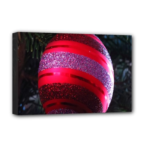 Glass Ball Decorated Beautiful Red Deluxe Canvas 18  x 12
