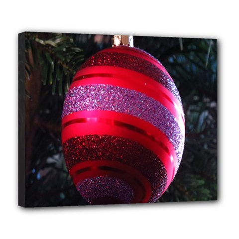 Glass Ball Decorated Beautiful Red Deluxe Canvas 24  X 20