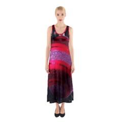 Glass Ball Decorated Beautiful Red Sleeveless Maxi Dress