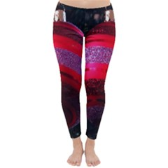 Glass Ball Decorated Beautiful Red Classic Winter Leggings