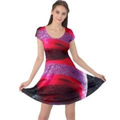 Glass Ball Decorated Beautiful Red Cap Sleeve Dresses