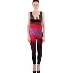 Glass Ball Decorated Beautiful Red Onepiece Catsuit