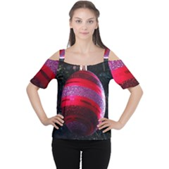Glass Ball Decorated Beautiful Red Women s Cutout Shoulder Tee