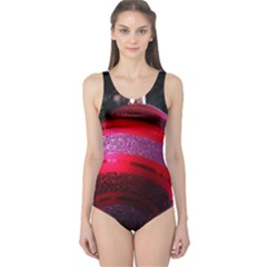 Glass Ball Decorated Beautiful Red One Piece Swimsuit