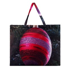 Glass Ball Decorated Beautiful Red Zipper Large Tote Bag