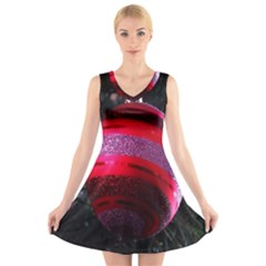 Glass Ball Decorated Beautiful Red V Neck Sleeveless Skater Dress