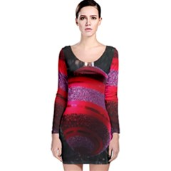 Glass Ball Decorated Beautiful Red Long Sleeve Velvet Bodycon Dress
