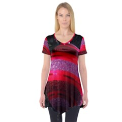 Glass Ball Decorated Beautiful Red Short Sleeve Tunic