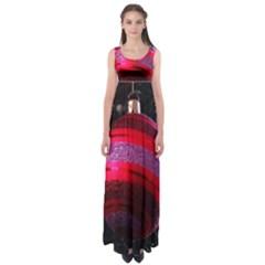 Glass Ball Decorated Beautiful Red Empire Waist Maxi Dress