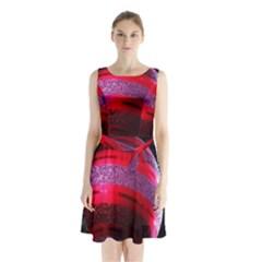 Glass Ball Decorated Beautiful Red Sleeveless Chiffon Waist Tie Dress