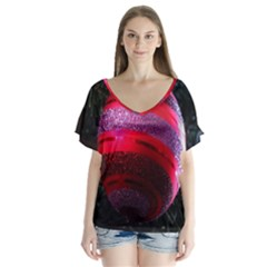 Glass Ball Decorated Beautiful Red Flutter Sleeve Top