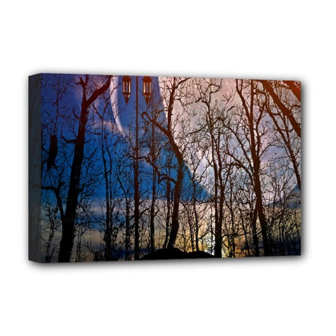 Full Moon Forest Night Darkness Deluxe Canvas 18  X 12