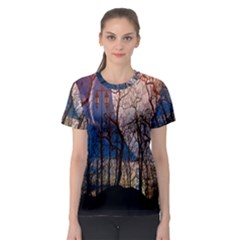 Full Moon Forest Night Darkness Women s Sport Mesh Tee