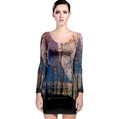 Full Moon Forest Night Darkness Long Sleeve Bodycon Dress