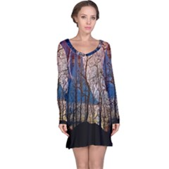 Full Moon Forest Night Darkness Long Sleeve Nightdress