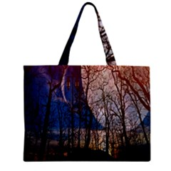 Full Moon Forest Night Darkness Zipper Mini Tote Bag