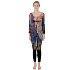 Full Moon Forest Night Darkness Long Sleeve Catsuit