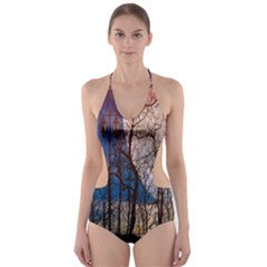 Full Moon Forest Night Darkness Cut-Out One Piece Swimsuit