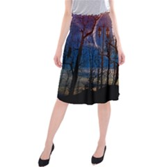 Full Moon Forest Night Darkness Midi Beach Skirt