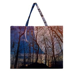 Full Moon Forest Night Darkness Zipper Large Tote Bag