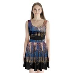 Full Moon Forest Night Darkness Split Back Mini Dress