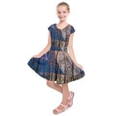 Full Moon Forest Night Darkness Kids  Short Sleeve Dress